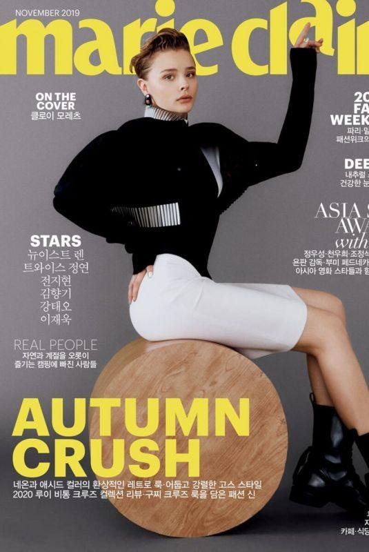 CHLOE MORETZ on the Cover of Marie Claire Magazine, Korea November 2019