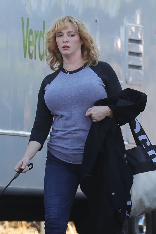 CHRISTINA HENDRICKS on the Set of Good Girls in Los Angeles 10/21/2019