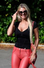 CHRISTINE MCGUINNESS in Tight Red Leather Pants Out in Cheshire 10/09/2019