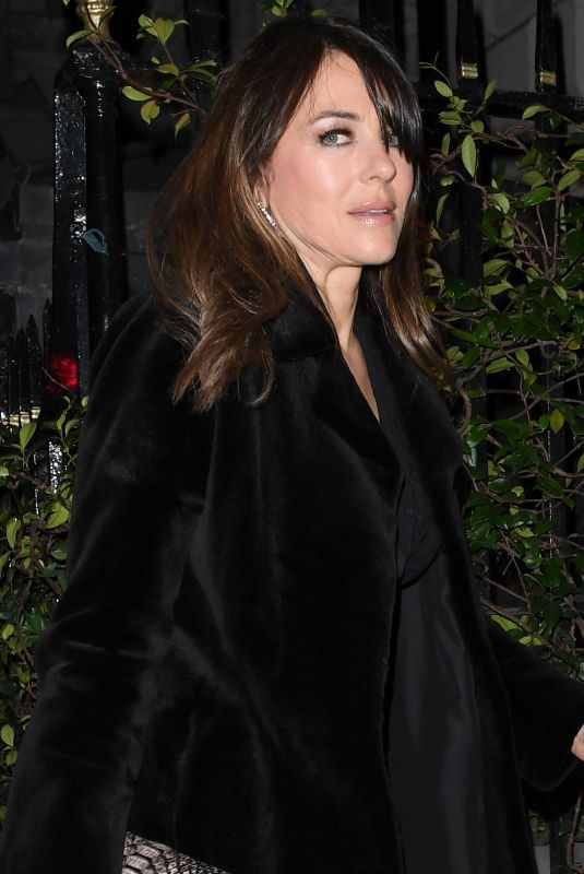 ELIZABETH HURLEY at Annabel's in London 10/22/2019