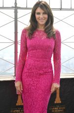 ELIZABETH HURLEY at Lighting Ceremony in Honor of Estee Lauder Breast Cancer Campaign in New York 10/01/2019
