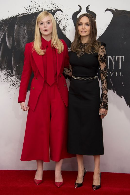 ELLE FANNING and ANGELINA JOLIE at Maleficent: Mistress of Evil Photocall in London 10/10/2019