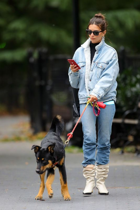 EMILY RATAJKOWSKI in Double Denim Out with Her Dog in New York 10/17/2019