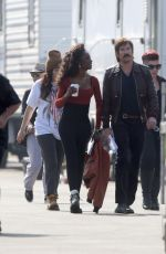 EMMA ROBERTS, ANGELICA ROSS and Dylan McDermott on the Set of American Horror Story 100th Episode in Los Angeles 10/18/2019