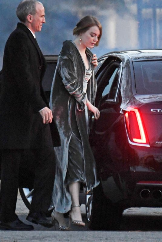 EMMA STONE Arrives at Jennifer Lawrence and Cooke Maroney