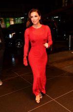 EVA LONGORIA in Red Skintight Dress Night Out in New York 10/22/2019