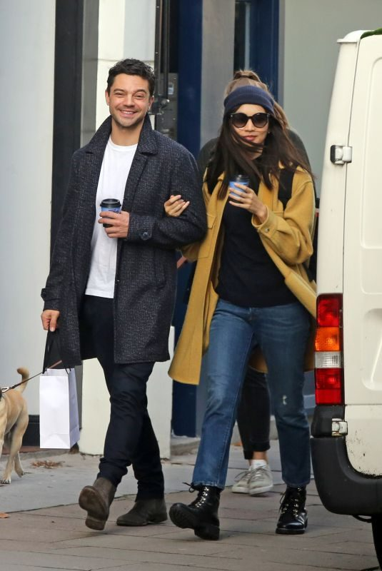GEMMA CHAN and Dominic Cooper Out for C coffee in Primrose Hill 10/14/2019