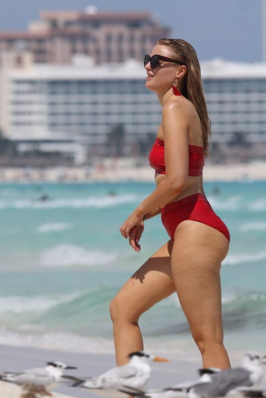 GRACE LEVY in a Red Bikini at a Beach in Tulum 10/07/2019