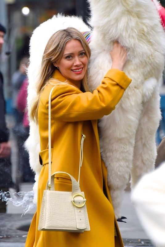 HILARY DUFF at a Film Set at Washington Square Park in New York 10/29/2019