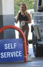 HILARY DUFF at a Gas Station in Beverly Hills 10/13/2019