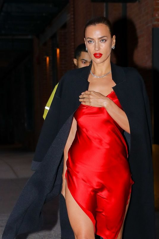 IRINA SHAYK in a Red Satin Dress Leaves Photoshoot in New York 10/17/2019