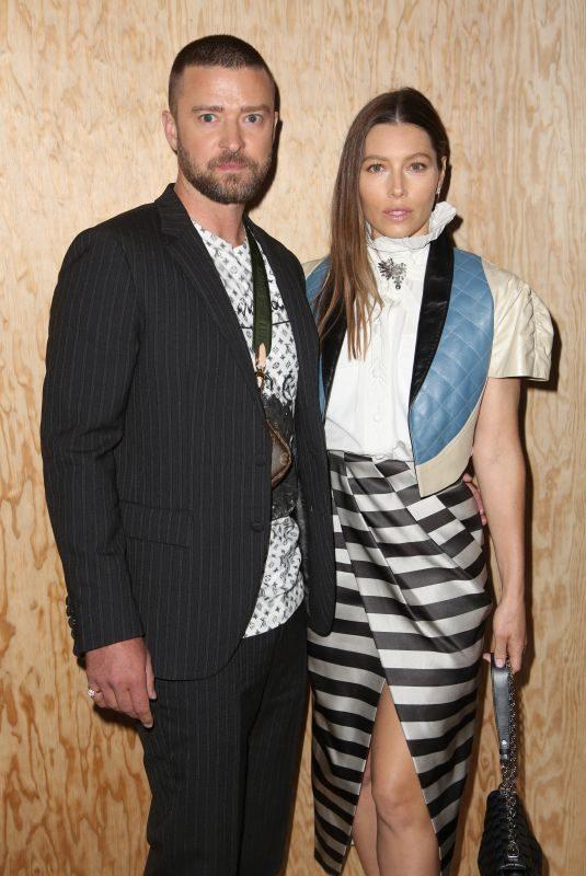 JESSICA BIEL and Justin Timberlake at Louis Vuitton Womenswear Spring/Summer 2020 Show in Paris 10/01/2019