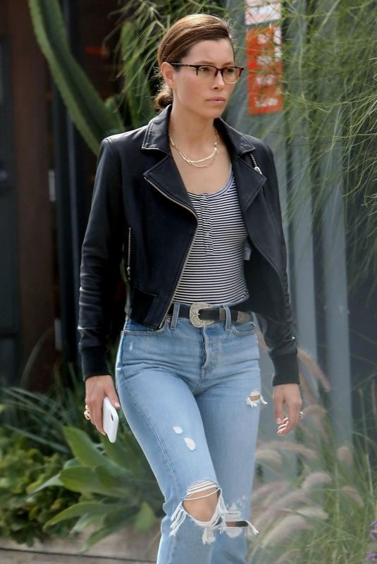 JESSICA BIEL in Ripped Denim Out in Los Angeles 10/16/2019