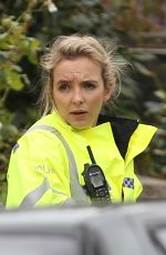 JODIE COMER on the Set of Killing Eve 10/11/2019
