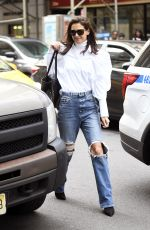 KATIE HOLMES in Ripped Denim Out in New York 10/26/2019