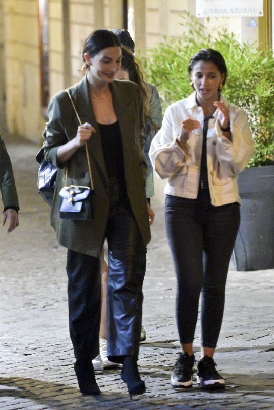 LILY ALDRIDGE and NAOMI SCOTT Out for Dinner in Rome 10/09/2019