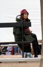 LILY COLLINS and ASHLEY PARK on the Set of Emily in Paris in Paris 10/07/2019