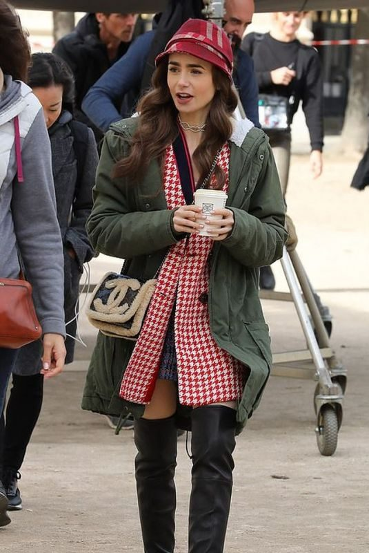 LILY COLLINS on the Set of Emily in Paris in Paris 10/07/2019