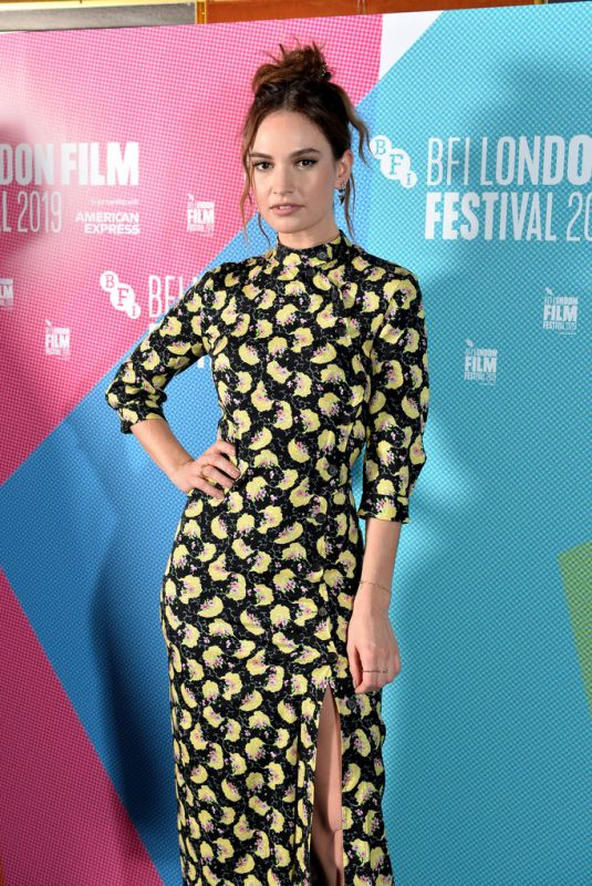 LILY JAMES at Rare Beasts Premiere at 63rd BFI London Film Festival 10/10/2019