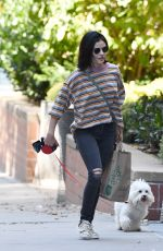 LUCY HALE Out with her Dog Elvis in New York 10/08/2019