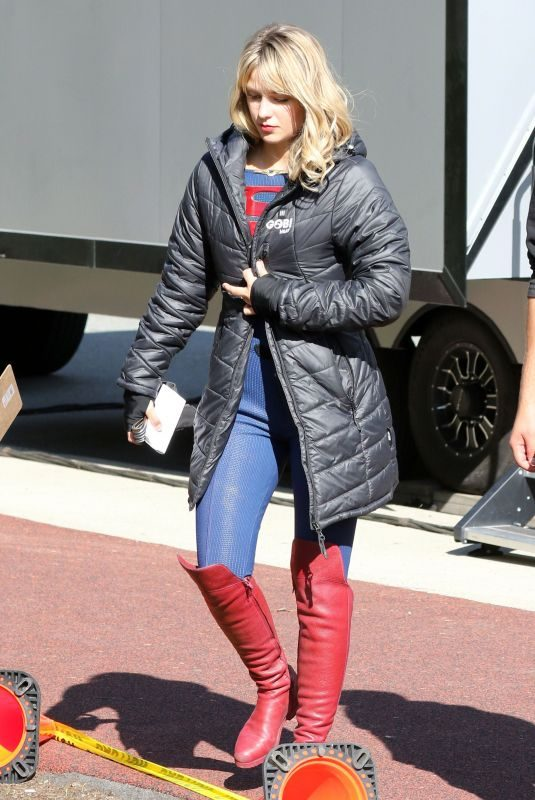 MELISSA BENOIST on the Set of Supergirl in Vancouver 10/01/2019