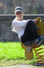 MICHELLE HUNZIKER at a Park in Bergamo 10/13/2019