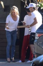 PAMELA ANDERSON Out for Lunch with Her Two Sons in Malibu 10/21/2019