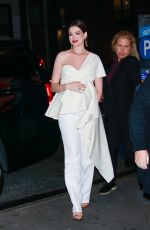 Pregnant ANNE HATHAWAY Arrives at Museum of Modern Love Pop Up Event in New York 10/10/2019