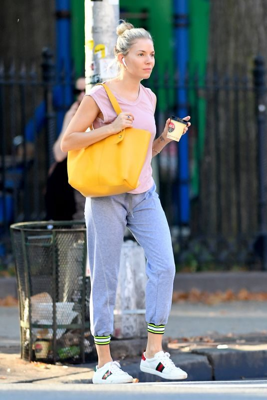 SIENNA MILLER Out in New York 10/02/2019