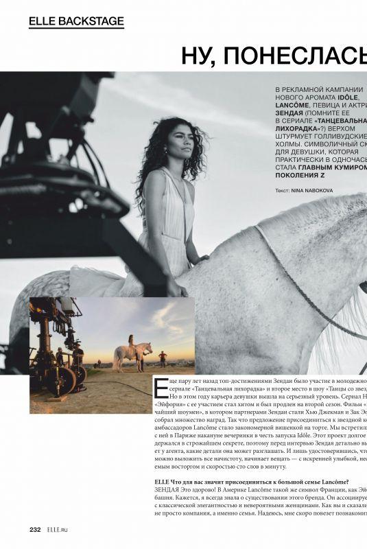 ZENDAYA in Elle Magazine, Russia September 2019