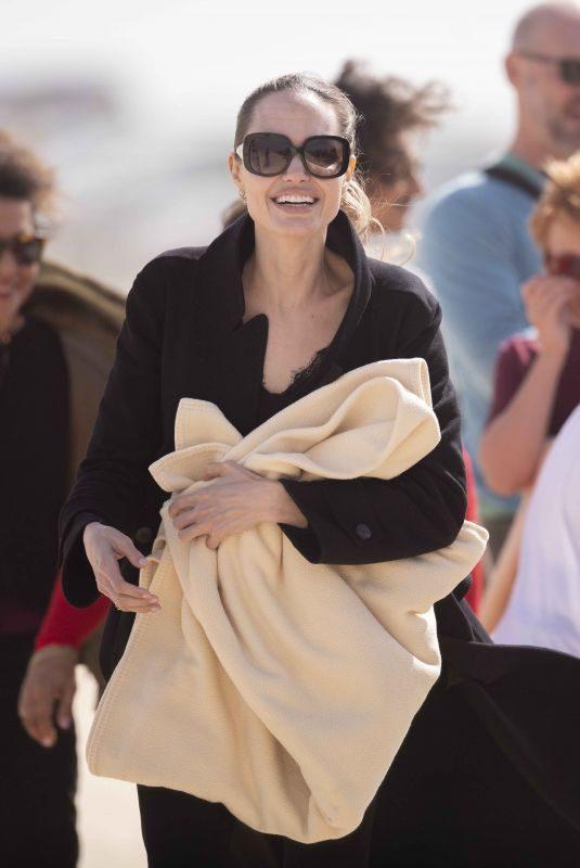 ANGELIAN AJOLIE Take a Break From Filming at a Beach in Fuerteventura 11/09/2019