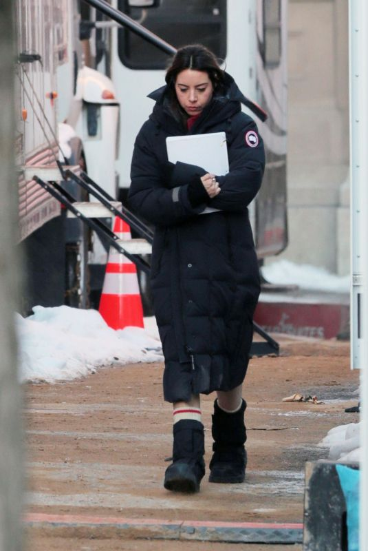 AUBREY PLAZA on the Set of Best Sellers in Montreal 11/26/2019