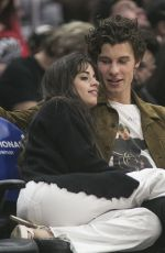 CAMILA CABELLO and Shawn Mendes at L A Clippers vs Toronto Raptors Game in Los Angeles 11/11/2019