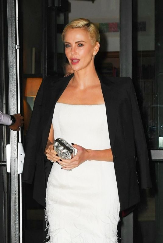 CHARLIZE THERON Leaves Crosby Hotel in New York 11/11/2019