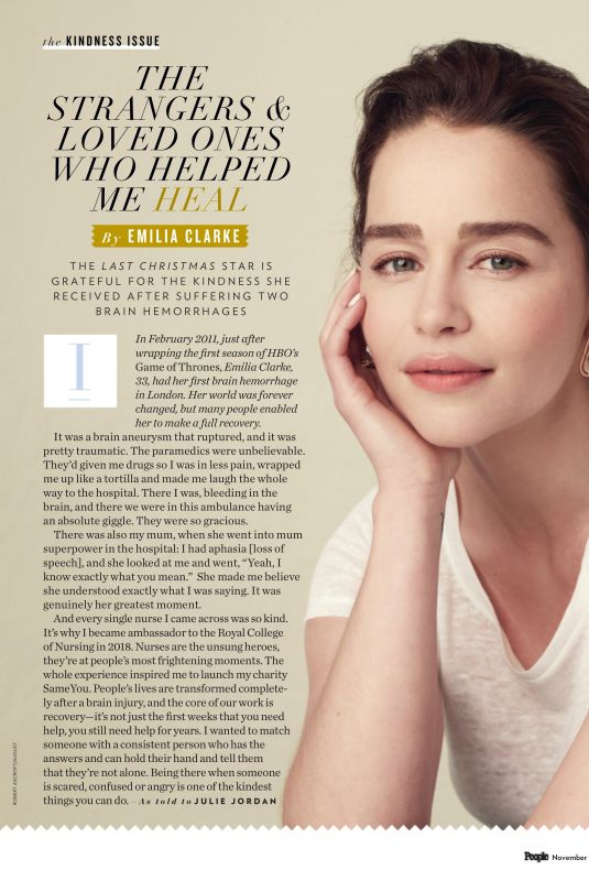 EMILIA CLARKE in People Magazine, November 2019