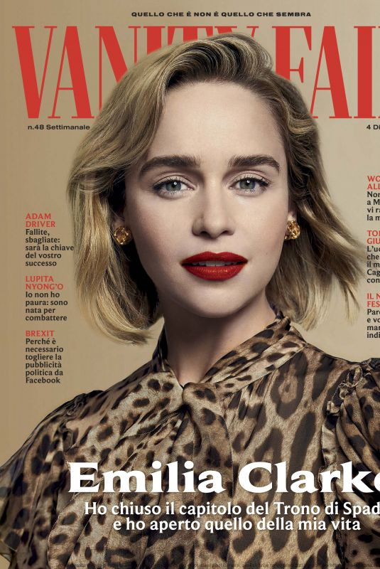 EMILIA CLARKE in Vanity Fair Magazine, Italy December 2019