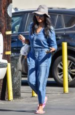 GARCELE BEAUVAIS in Denim Overalls Out in Los Angeles 11/01/2019