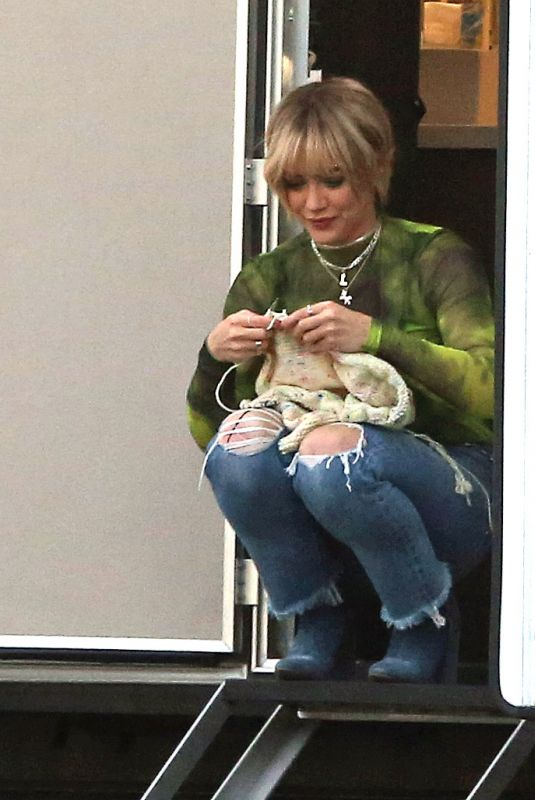 HILARY DUFF on the Break while Filming Lizzie McGuire in Los Angeles 11/19/2019