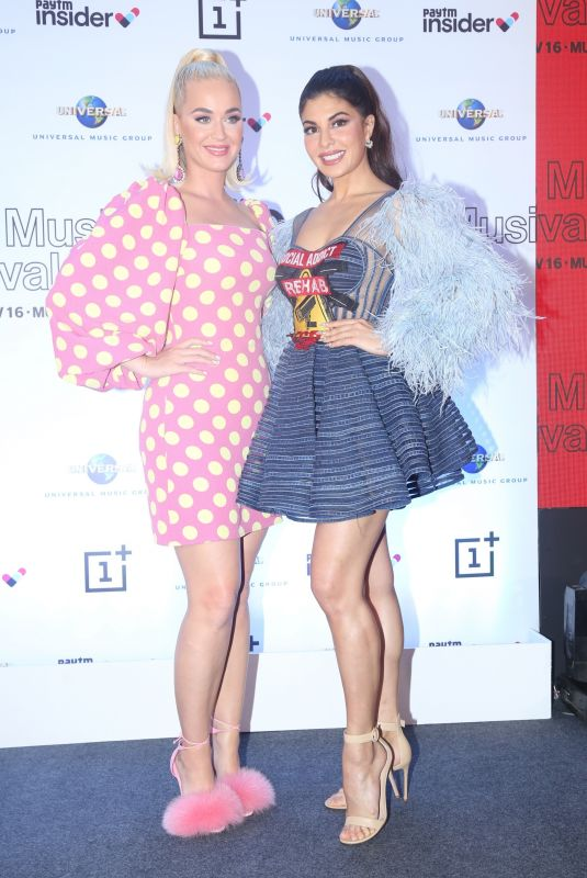 KATY PERRY and JACQUELINE FERNANDEZ at Oneplus Music Festival Press Conference in Mumbai 11/12/2019