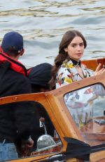LILY COLLINS on the Set of Emily in Paris in Paris 11/13/2019