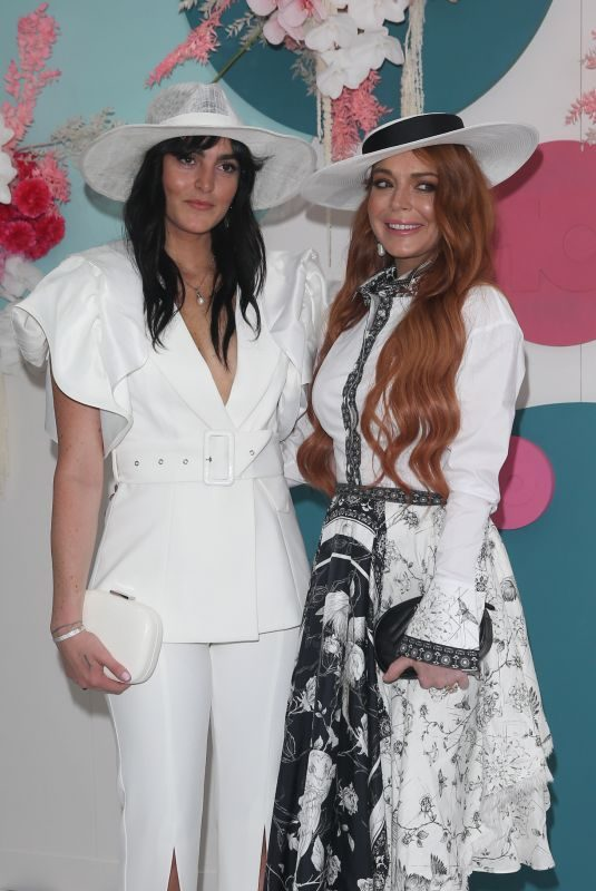 LINDSAY and ALI LOHAN at Derby Day Horse Race at Flemington Racecourse in Melbourne 11/02/2019