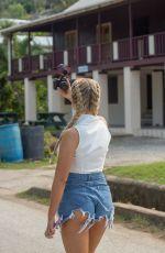 MOLLY MAE HAGUE in Denim Cut-off Out in Barbados 11/18/2019