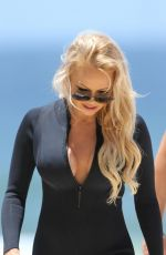 PAMELA ANDERSON Filming for Ultra Tune TV Ad at Gold Coast Beach 11/26/2019