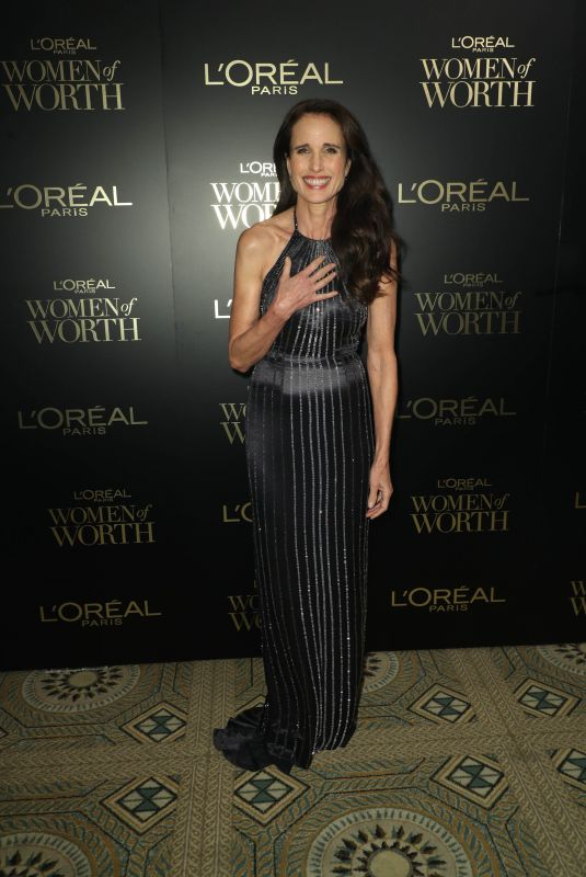 ANDIE MACDOWELL at L'Oreal Paris Women of Worth Awards in New York 12/04/2019