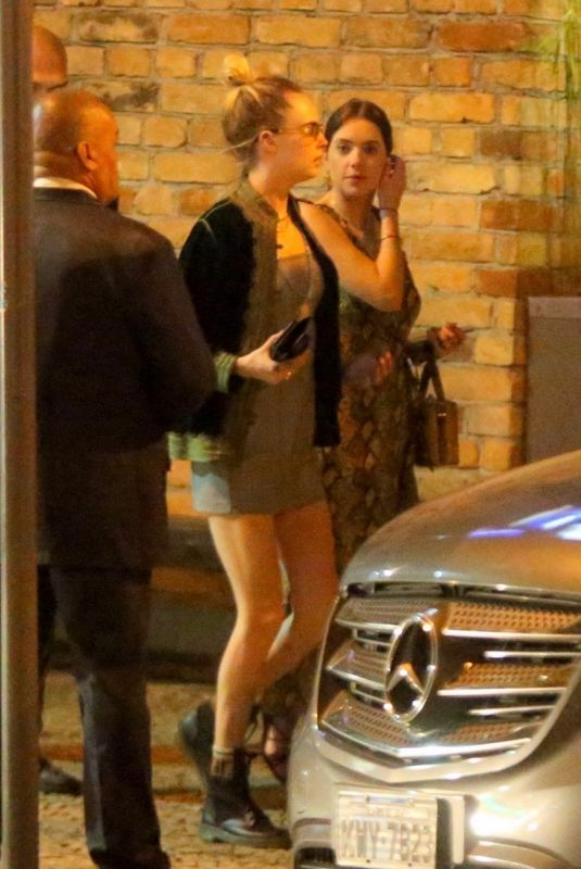 ASHLEY BENSON and CARA DELEVINGNE Out for Dinner in Rio De Janeiro 12/30/2019