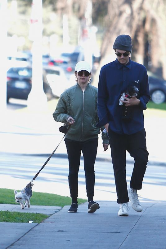 ASHLEY TISDALE and Christopher French Out with Their Dog in Los Feliz 12/28/2019