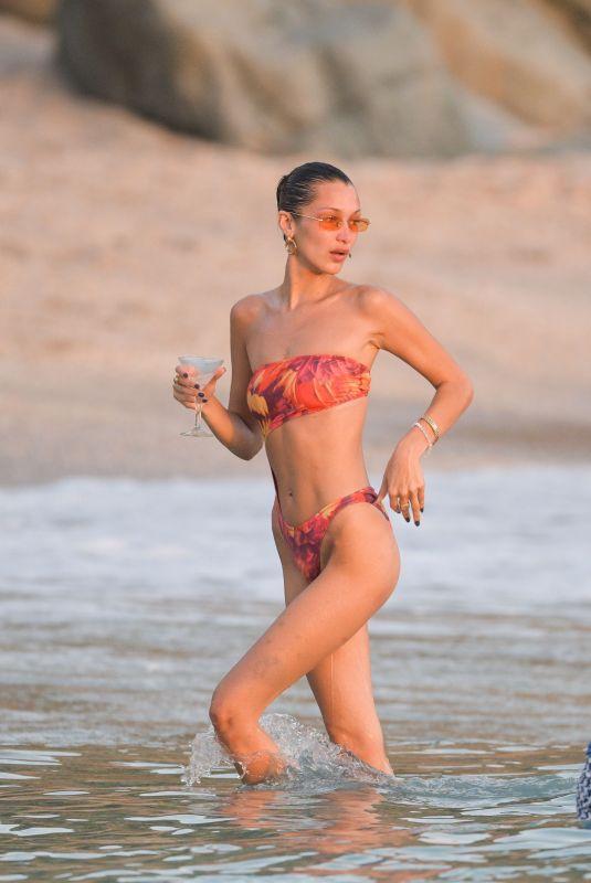 BELLA HADID in Bikini on the Beach in St. Barts 12/07/2019