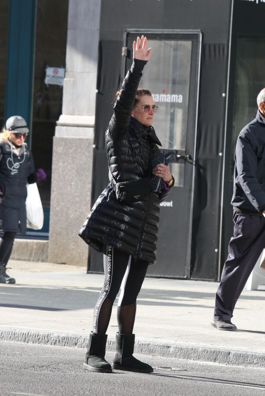 BROOKE SHIELDS Hailing a Cab Out in New York 12/24/2019