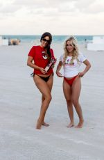 CLAUDIA ROMANO and JESS PICADO at a Beach in Miami 12/08/2019