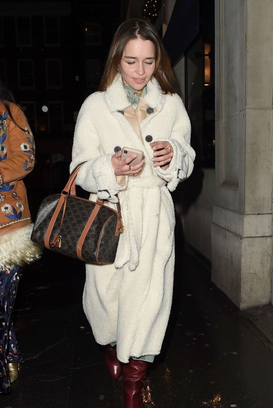 EMILIA CLARKE Leaves a Restaurant in London 12/13/2019
